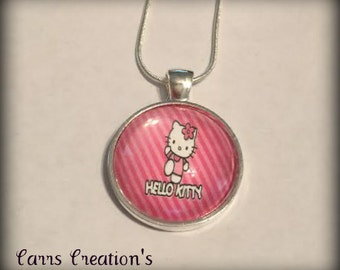Hello Kitty glass pendant necklace