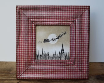 Christmas Display Decoupaged Xmas Frame With Flying Santa Sleigh Scandi Style Christmas Decoration Nordic Christmas Mantel Shelf Sitter