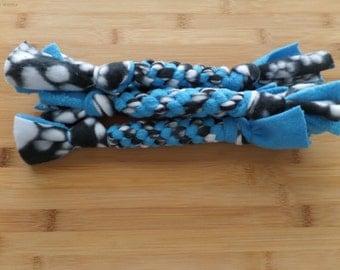 Blue and Black Paw Print Fleece Small Dog Tug Toy