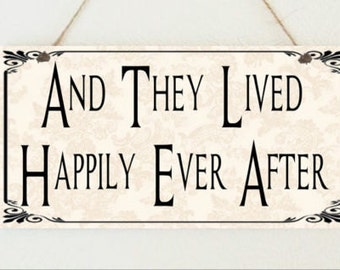 Beautiful Plaque And They Lived Happily Ever After Wedding Anniversary Engagement Love Sign Present Christmas Gift Xmas