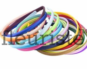Satin Headbands, Plastic Headbands, 10mm Headbands, DIY Headbands, Wholesale Headbands, Plain headbands, Covered Headbands, Toddler Headband