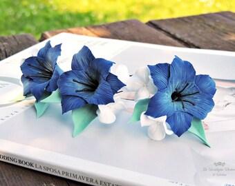 Hairpins bride, Hairpins , Hairpins with flowers , blue Hairpins , Hairpins with blue flowers , hair accessories , bridal accessories