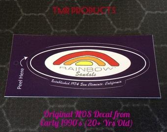 Vintage 1990's Rainbow Sandals Purple Decal Sticker NOS from over 20+Yrs old Surfing boarding Wave Rider Flip Flops