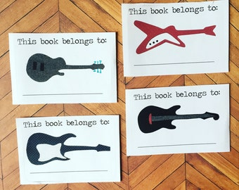 Guitars, Rockstar Bookplates, Set of 12 or 24