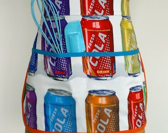 Pop Culture apron, Womans apron, cola apron, peg, craft, garden apron, Vendors apron, Studio apron, half apron, coca cola, drinks harvest