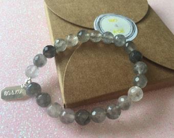 Bracelet child - Quartz gray lithotherapy - 6 mm - unique model