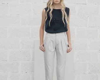 Gray Pants, Womens Trousers, Pleated Pants, High Waisted Trousers, Work Pants, Cotton Pants, Office Wear, Cigarette Pants, FREE SHIPPING