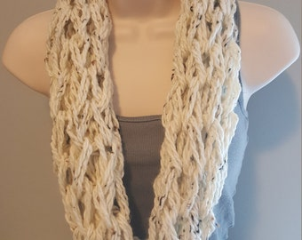 White Speckled Arm Knit Infinity Scarf