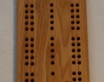 Laser Engraved Oak Cribbage Board