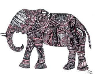 Pink Elephant - Print