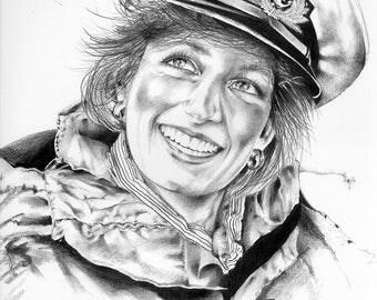 Portrait of Princess Dianna, Illustration, Print