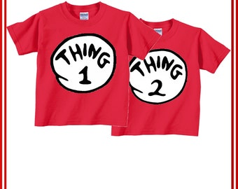 Thing1, Thing 2 Tshirt for toddlers & Youth, Gilden 100% Cotton Shirt. thing 1 and thing 2 shirt for Toddlers and Kids