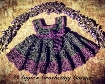 Crochet Baby Dress, Purple and Gray Baby Dress, ruffle crochet dress, baby bow dress, 0-3 months, ON SALE