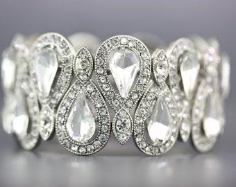 Bridal jewelry,Sliver Crystal Wedding Bracelet,Bridesmaid Wedding Gift Jewelry,Bridal Statement Bracelet,Crystal Bracelet,Prom Bracelet