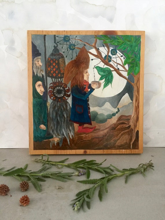 Faraway Nectar Tree - Original Oil on Wood