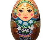 Winter Flower Matryoshka Wood Egg