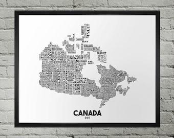 Canada City Typography Map Print