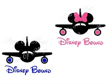 Disney Bound SVG File, Mickey Mouse Svg, Minnie Mouse EPS File, Mickey Plane Svg, Disney Trip SVG, Cricut, Silhouette Disney Dxf