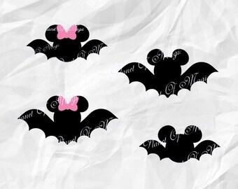Mickey Bat Svg, Halloween Mickey Svg, Bat Minnie Svg, Halloween Svg, Disney Cutting File, Bat DXF, Cricut File, Silhouette Halloween DXF