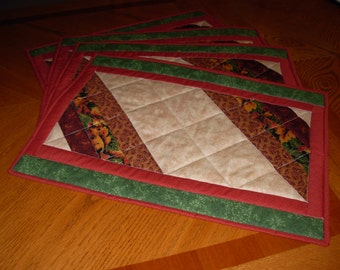 quilted placemats in fall colors