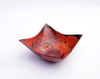 Copper Bowl / single bowl / hand hammered copper / raised copper / fire colours / small or medium