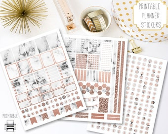 Printable Marble Planner Stickers | Rose Gold Accents, Marble and Rose Gold Planner Stickers, Rose Gold & Marble Stickers, Instant Download