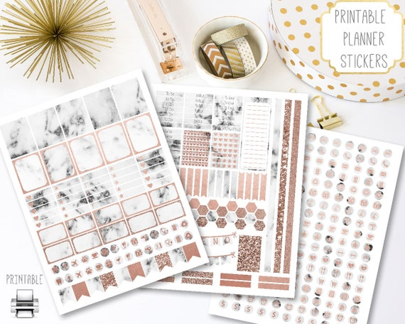 Printable Marble Planner Stickers Rose Gold Accents Marble