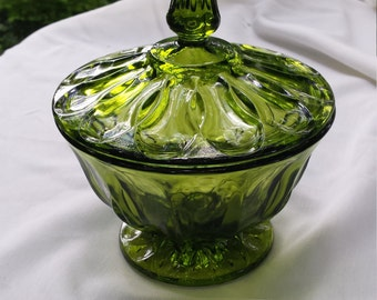 Vintage Green Glass lidded candy dish