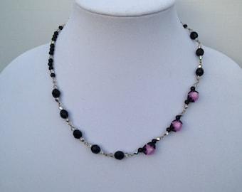 Pink Moon Drop Bead Necklace