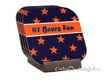 CHICAGO BEARS #1 Fan Coasters, Set of 4, INCLUDES Coaster Stand
