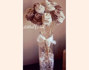 Burlap Rose Bouquet  (weddings, baby shower)
