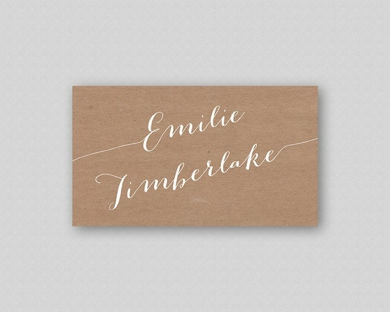 Calligraphy Place Cards Printable White Calligraphy Wedding