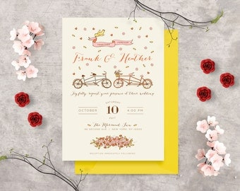 Vintage Bicycle Wedding Invitation, Congratulations Card, Bicycle for Two Card, Engagement Congratulations, Newlywed, Mr & Mrs, Love Card