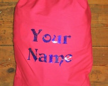 Small Pink Costume/shoe/Clothing storage bag. Bespoke, personalised, glitter text. Great for Burlesque and Drag performers, weddings etc