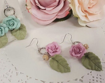 handmade earrings polymer clay roses