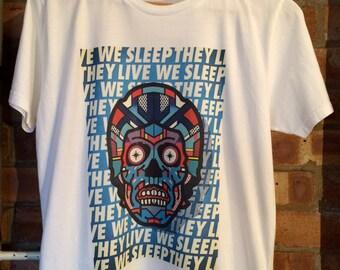 We Live They Sleep test print white t-shirt, size M