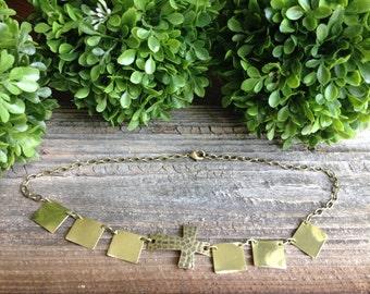 Modern Cross Brass Necklace
