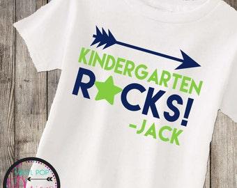 Kindergarten Back to school shirt, kids school tee,  kindergarten ROCKS, cool kid, 1st day of school, boys tee, 1st day of Kindergarten