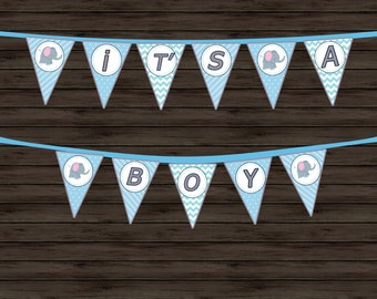 Blue Baby Shower Banner - Printable Baby Shower Banner - Baby Shower Banner - EDITABLE - BOY - Its A Boy