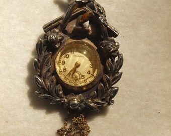 Charming Coo Coo Clock Watch Figural Pin