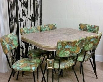 Vintage Mid Century Modern Dinette Set Green Gold 60s Chairs, Leaf, Kitchen Retro