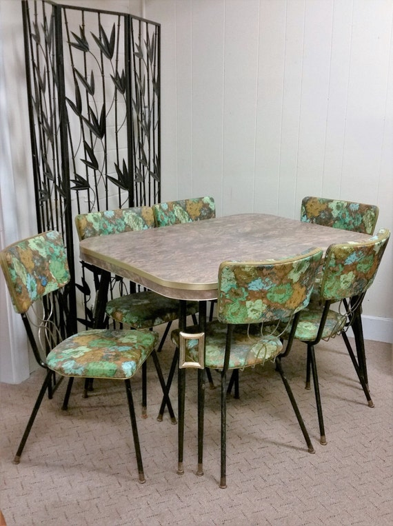 Vintage Mid Century Modern Dinette Set Green Gold 60s Chairs