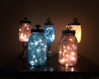 Painted Mason jar with lights