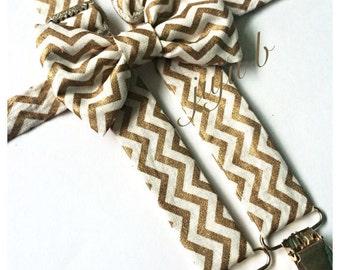 Bow Tie and Suspender Set   Gold Chevron Suspenders   Gold Bow Tie   Mens Bow Tie   Baby Bow Tie    Gold Suspenders   Bow Tie
