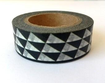 A masking tape 10 m / washi tape (adhesive tape) triangles black 1.5 cm x 10 m