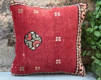 40 x 40 CM*Tomato Red Carpet Pillow,Handmade Carpet Cushion,Vintage Pillow