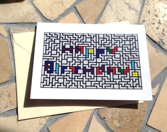 Tetris Happy Birthday Card; Blank Inside Greeting Card