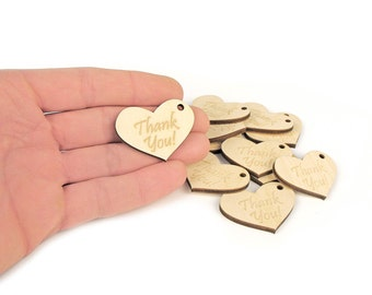 10x Thank You Wooden Tags Hearts (4x3cm) Thank You Tags, Gift Tags, Product Tags With Hole MG000212