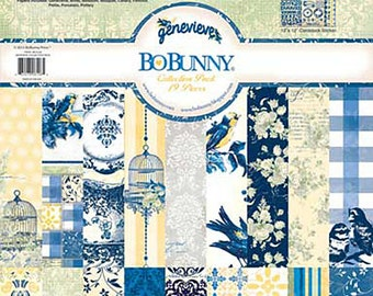 Bo Bunny Genevieve Collection Pack - Genevieve paper - 12x12 - Card stock paper - Blue andYellow Paper Cardstock - Bo Bunny Genevieve Paper