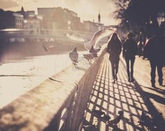 Strolling on the Liffey Boardwalk Dublin. Liffey Boardwalk Dublin Photograph. Wall art Ireland